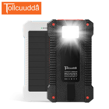 Tollcuudda Hot Sale Waterproof Power Bank 10000mAh Solar Charger External Battery Poverbank Portable Charger For Xiaomi Iphone6s