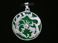Wholesale price 16new ^^^^HOT NEW sale Green Natural stone carved inlaid dragon pendant + With Necklace
