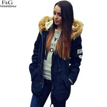 New 2017 Winter Coats Women Jackets Hooded Fur Collar Thick Cotton Padded Lining Ladies Down & Parkas Navy Blue Drop ship 31