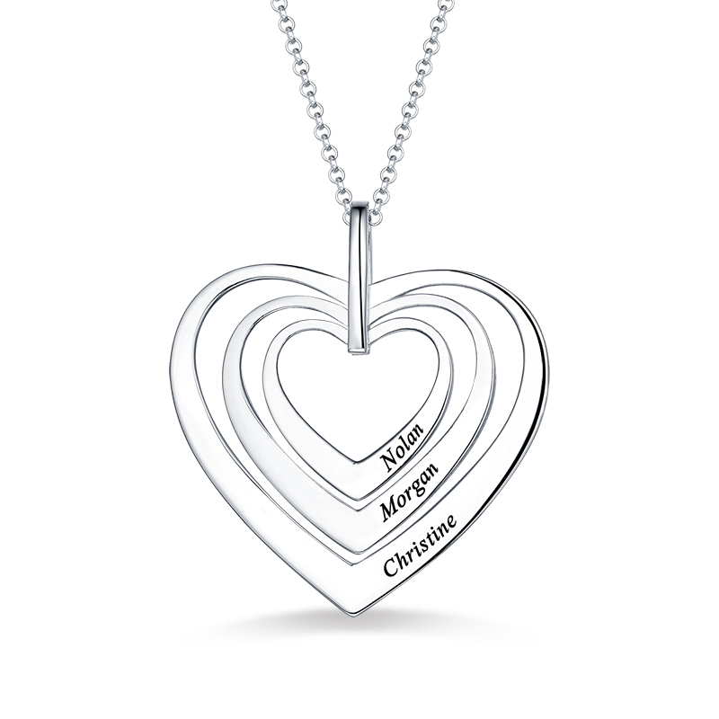 AILIN Engraved Women Family Three Hearts Necklace In Sterling Silver For Her Name Hearts Pendant For Lady Anniversary Gift цена и фото