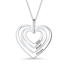 AILIN Engraved Women Family Three Hearts Necklace In Sterling Silver For Her Name Pendant Lady Anniversary Gift