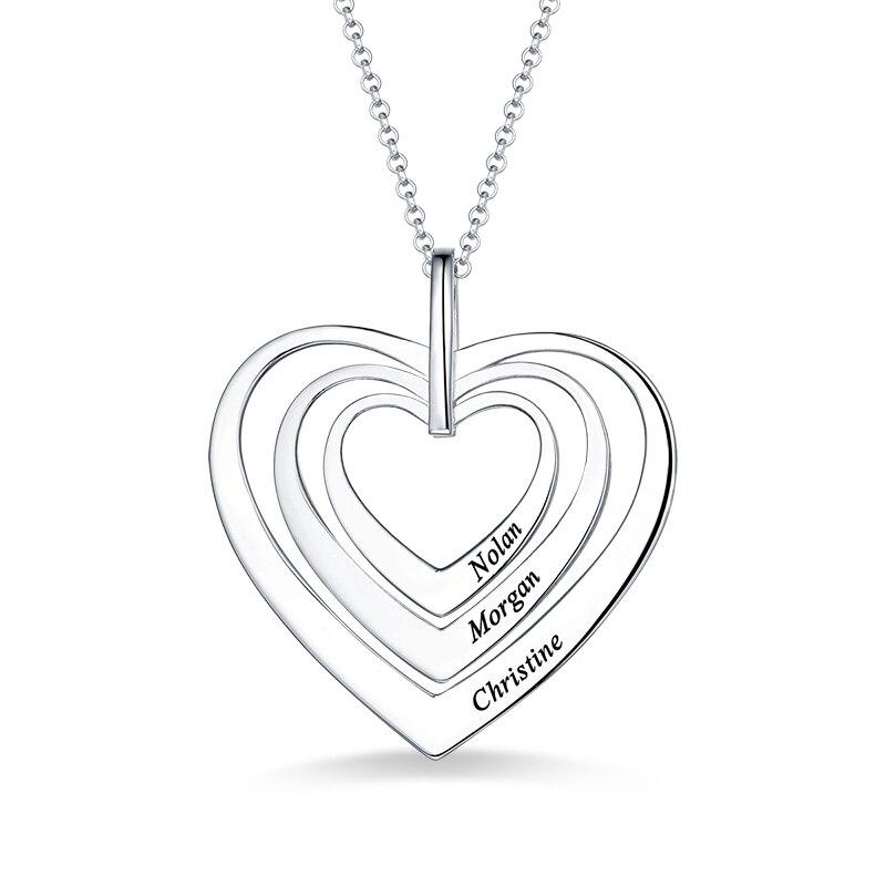 AILIN gravé femmes famille trois coeurs collier en argent Sterling pour son nom coeurs pendentif pour dame anniversaire cadeau