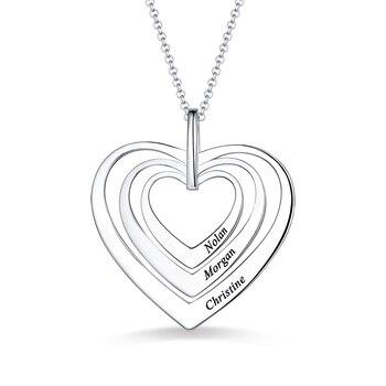 Ailin gravado mulher família três corações colar em prata esterlina para o seu nome corações pingente para senhora presente de aniversário