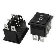 2pcs 6 Pin DPDT ON-OFF-ON 3 Position Snap in Rocker Switch 15A/250V 20A/125V AC