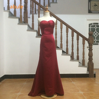 abule wedding dress 2017 Red wine Sweetheart Pleat red Ribbon bow mermaid wedding gown Elegant Real Photo vestido de noiva 855