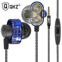 QKZ DM8 Earphones Mini Dual Driver Original Hybrid Dual Dynamic Driver In Ear Earphone Mp3 DJ