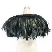 Devil Fashion Women Black Cappa Gothic Party Feather Evening Short Capes Steampunk Casual Amice Pashmina