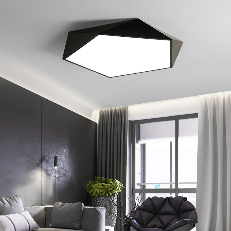 Ceiling Lights & Fans Iyoee Modern Led Ceiling Lights Luminaire For Living Room Nordic Style Remote Control Lamp 3d Pentagon Fixture Dimmable Lustre