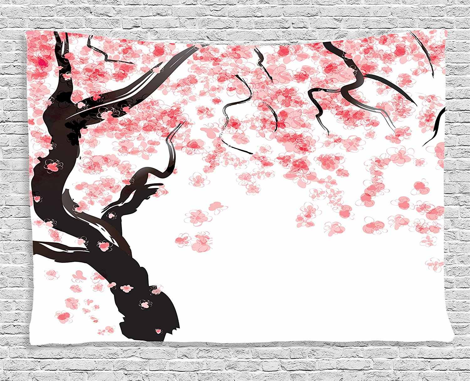House Decor Collection Japanese Cherry Tree Blossom in Watercolor Painting Effect Oriental Stylized Art Deco Bedroom