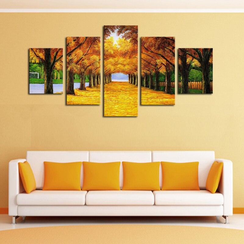 Aliexpress.com : Buy Unframed 5 Panels Nature Yellow GoldenTrees ...