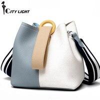Women Handbag Fashion Genuine Leather Women Messenger Bag Women Genuine Real Cow Leather Handbag Daily Casual Bucket Bag