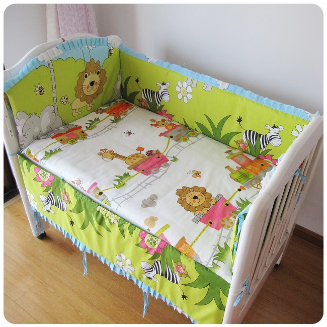 Promotion! 6PCS Forest 100% Cotton Kid Baby Children Bedding Set Product Infant Cartoon Bed Set (bumper+sheet+pillow cover)