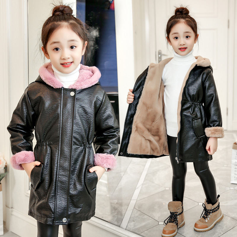 Winter Girls Hooded Warm Leather Jackets Thickening Plus Velvet Girl Long Outerwear High Quality Pu Leather Parka Coat new men s military style casual fashion canvas outdoor camping travel hooded trench coat outerwear mens army parka long jackets