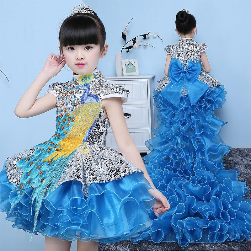 The New Princess Dress Flower Girl Dress Tutu Piano Performance Costumes For Children Dress Girls Dress Trailing Catwalk