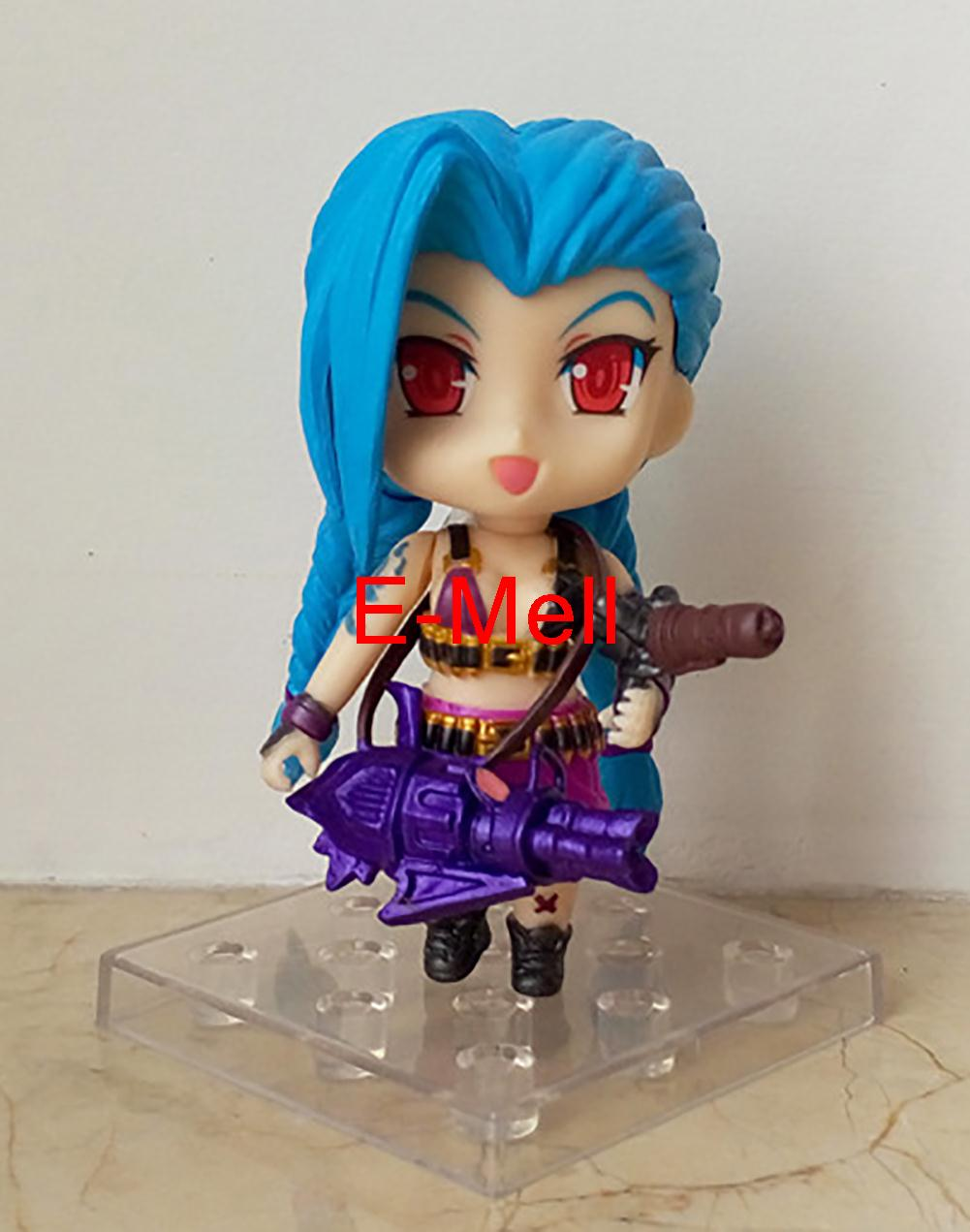 Cosplay LOL The Loose Cannon Jinx 9cm/3.5'' Q Version PVC Garage Kit can change face Figures Toys Brigquedos Model Gifts 900 made for lol cosplay the loose cannon jinx 24cm 9 5 middle pvc gk action figures toys garage kits standing model