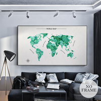 HD World Map Special Canvas Painting Posters And Prints Nordic Green Plant Wall Art Pictures For