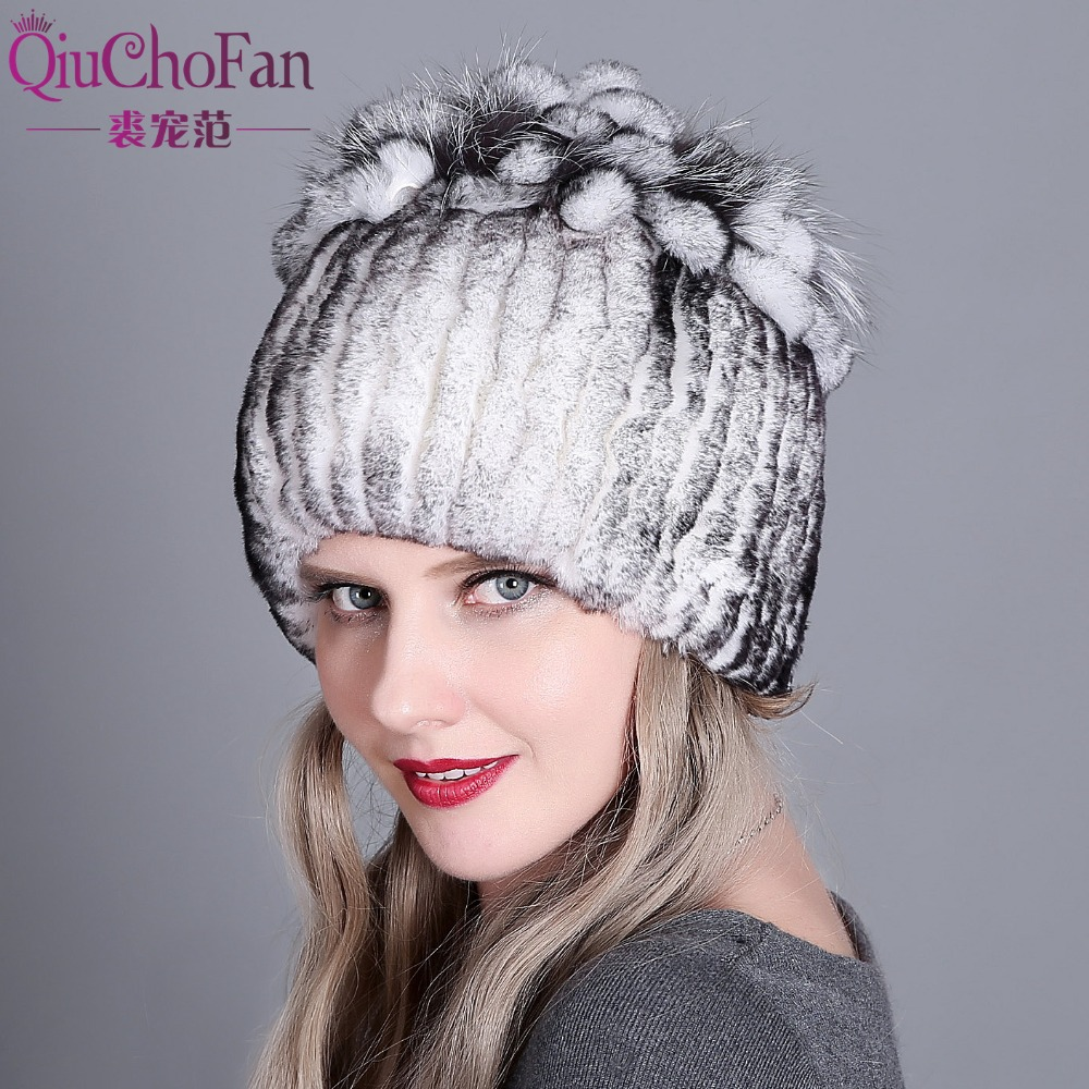 Hat Women's Winter Female Hat For Women 100% Real Rex Rabbit Fox Fur Hat Rex Rabbit Fur Caps Lady Winter Warm Headwear