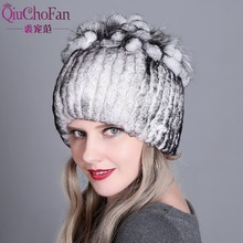 Hat Womens Winter Female Hat for Women 100% Real Rex Rabbit Fox Fur Hat Rex Rabbit Fur Caps lady Winter Warm Headwear
