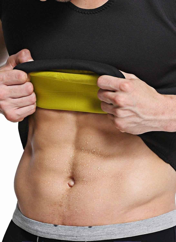 固体新ファッション男性のジム Tシャツネオプレンサウナ超薄型汗シャツボディシェイパー固体痩身コルセットフィットネススポーツウェア