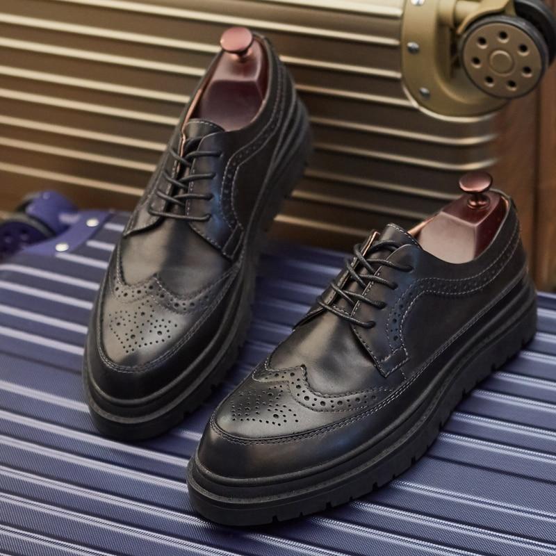 Marca Zapatos apricot Británico Moda Para De Italiano Mycolen Hombre Cuero Hombres Los Nuevo Estilo Negro Casual Lujo La IwRTxqWS8