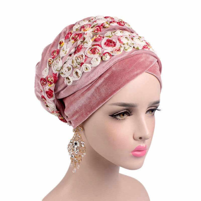 6a73ea04752 Women Fashion Flower Muslim Scarf Hijabs Hats Velvet Women India Hat Turban  Hat Wrap Cap Long