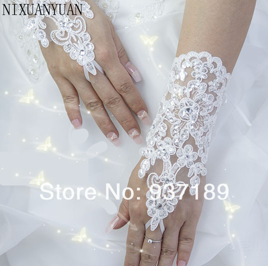 Free Shipping Wholesale Hot Sale White Elegant Write Fingerless Short Paragraph Rhinestone Bridal Wedding Gloves