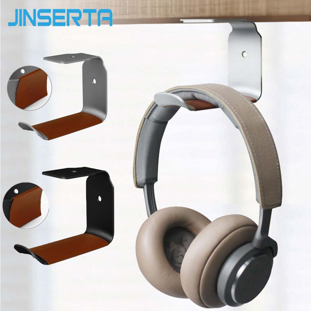 JINSERTA Durable Headphone Stand Aluminum Alloy Holder Desk Wall Headsets Display Stand Hanger With Stick Headphones Accessories