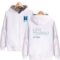 Fashion LUCKYFRIDAYF BTS Love Yourself Zipper Thick Hoodies Sweatshirts Winter Warm Hoodie Women Plus Size Female