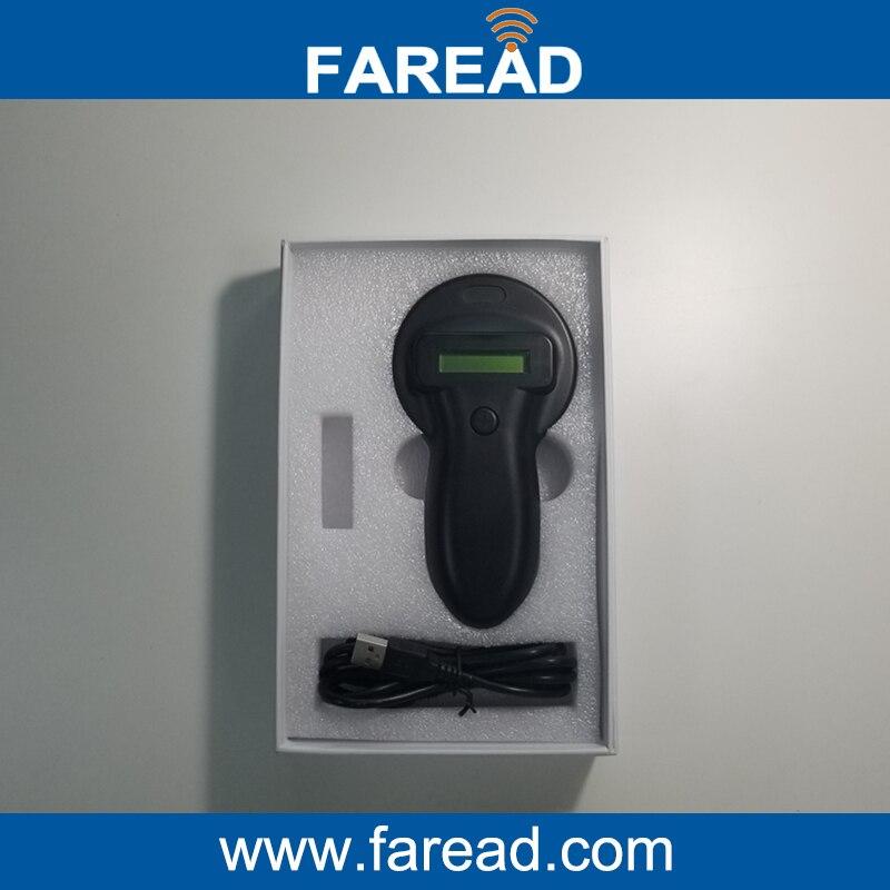 134.2KHz FDX-B Pet microchip portable RFID scanner/ animal RFID Tag Reader iso11784 5 fdx b em4305 long range 134 2khz rfid animal ear tag for cow sheep management