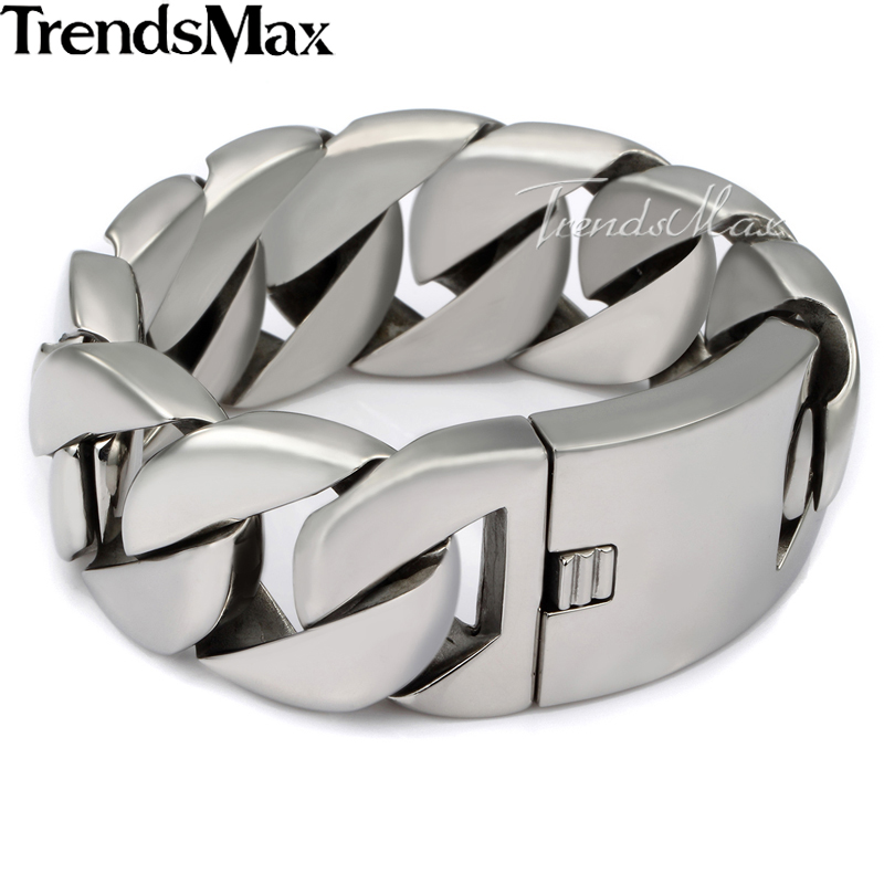 Trendsmax 24/31mm Wide Biker 316L Stainless Steel Heavy Curbs