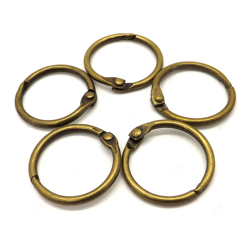 10Pcs 15-75mm Antique Brozen Loose Leaf Book Binder Hinged Rings Metal Book Rings For Album Scrapbook Office Circle Binding Ring