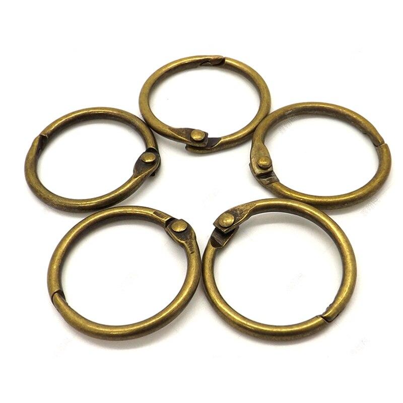 10Pcs 15-75mm Antique Brozen Loose Leaf Book Binder Hinged Rings Metal Book Rings For Album Scrapbook Office Circle Binding Ring