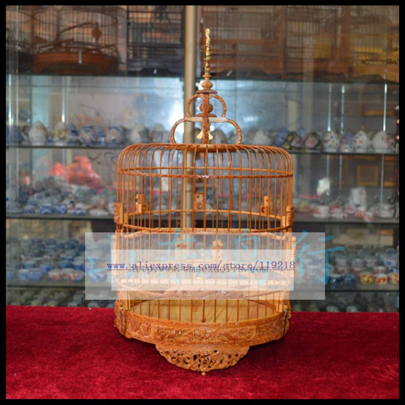 52 branch Jinyan embroidered eye hibiscus birdcage selection old bamboo handmade fine carved bird cage 24cm in Bird Cages Nests from Home Garden