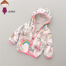 Girl Rainbow Hooded Jacket Spring Autumn Kids Clothes Graffiti Cartoon Long Sleeves Girl Coat Shelter Jacket Clothes for Girls