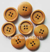 цены 40pcs/pack 20mm 4 holes china Primary Color natural wood button bulk sewing assorted button craft sewing round buttons