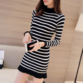 2017 new Korean winter knitting dress slim in the long section of lotus leaf half turtleneck striped sweater XY1056