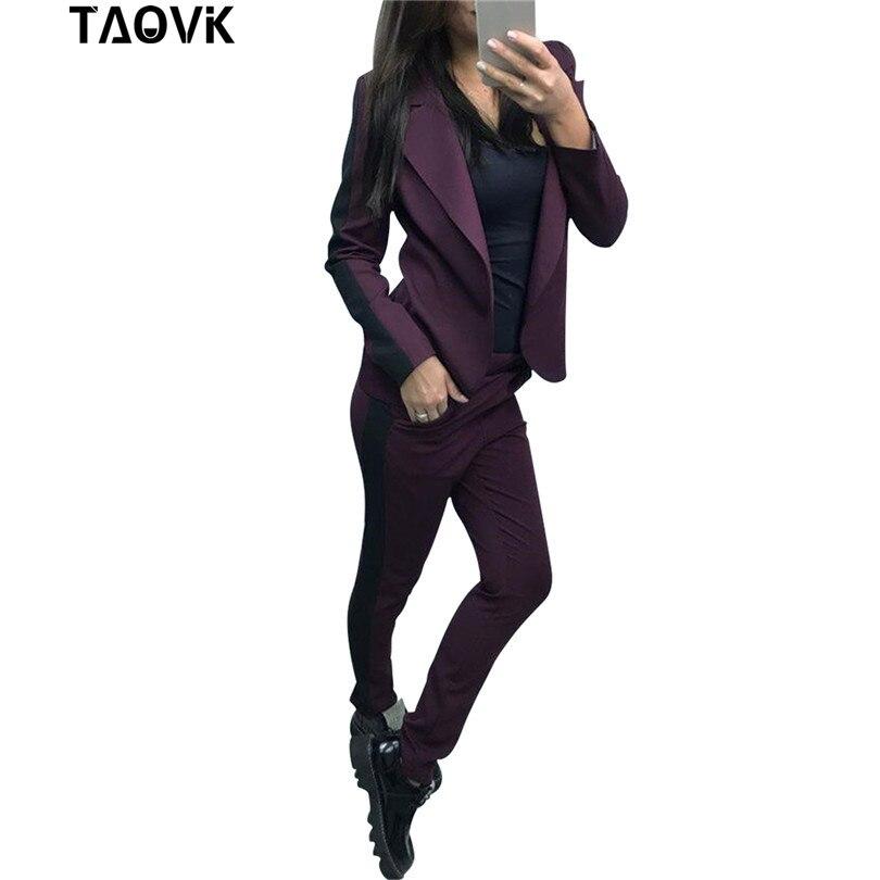 TAOVK Stylish Skinny womans Sets OL Pant Suits side strip tracksuit lapel lining short Blazer font