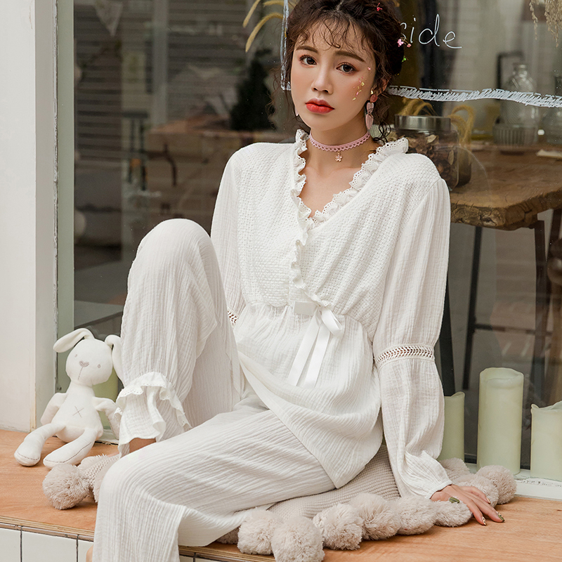Spring 100% Cotton Wrinkle Cloth Breastfeeding Pajamas Thin Comfortable Breathable Pregnant Women Breastfeeding Nightwear