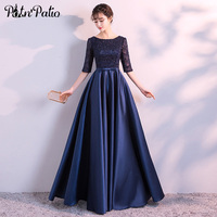 Navy Blue Evening Dresses Long Elegant Simple Formal Dress Plus Size Satin Evening Gown With Lace Sleeves 2018