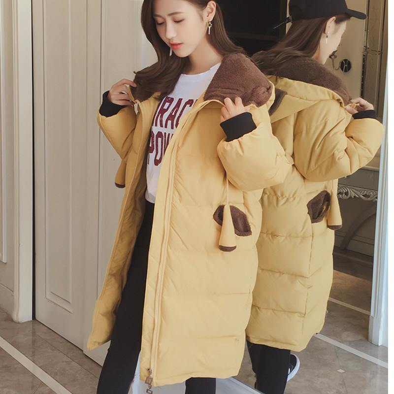 Nouvelle Mignon Section Coréenne Black Le De army Étudiant Veste Bas Longue Vers 2018 Femmes Hiver Lâche Casual yellow Droite Coton Version Épais Green X341 aAPwzqnx