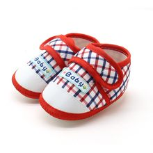 2017 Fashion Baby Boys Girls Toddler Cotton Plaid Printed Crib Shoes First Walkers Soft Bottom Anti-Slip Shoes Spring Summer(China)