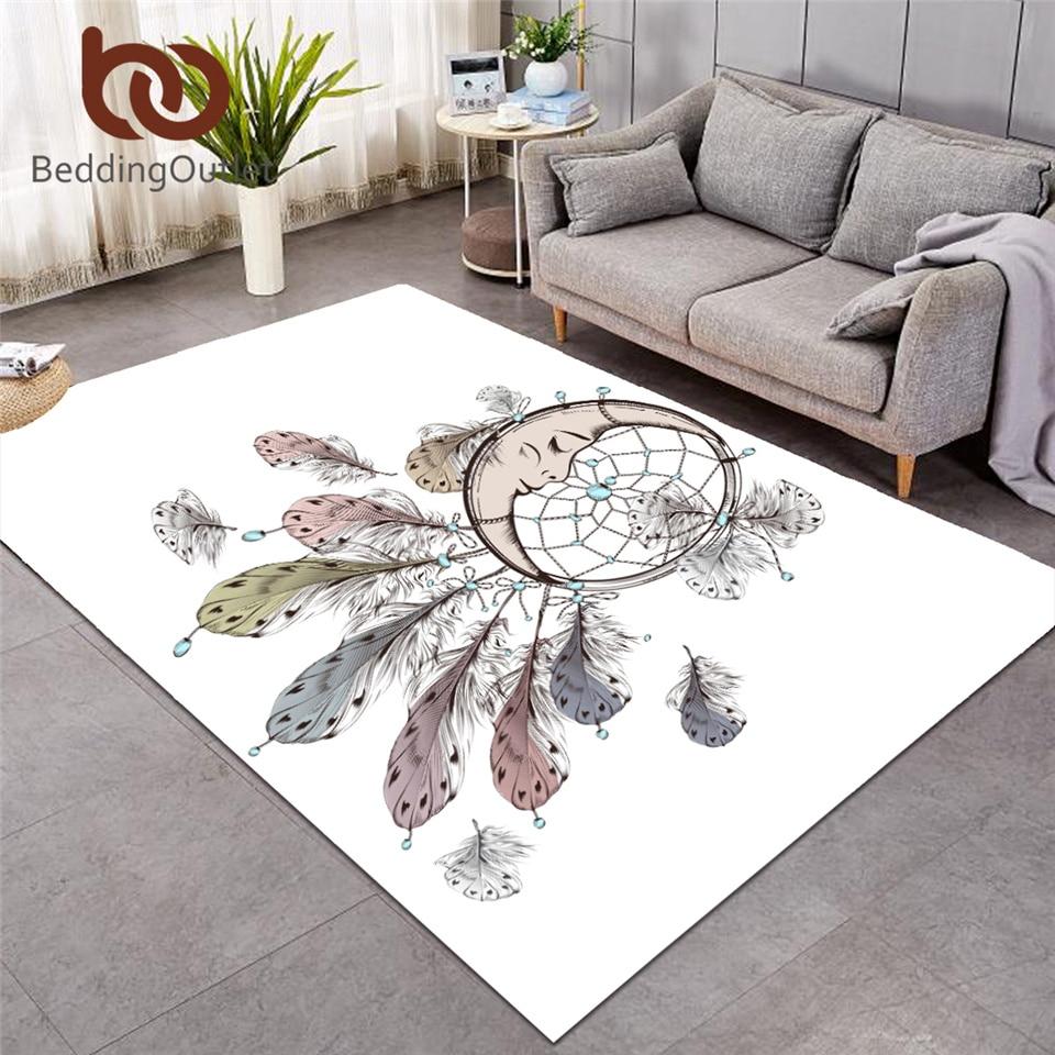 BeddingOutlet Dreamcatcher powierzchnia dywanik do sypialni księżyc duży dywan nadruk z piór prostokąt mata podłogowa antypoślizgowy Home Decor