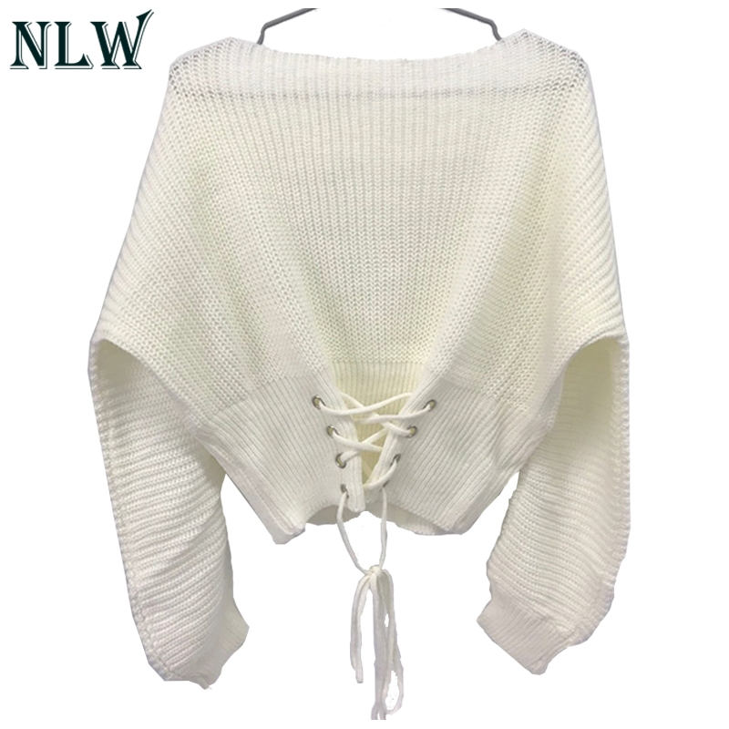 NLW Lace Up Crop Casual Women Sweater 19 Autumn Winter Knitted Pullovers Long Sleeve O Neck Loose Jumper Top Bandage Sweater 14