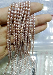 Image 5 - Top Real pearl Small Rice Bead 1.8mm Natural freshwater Pearl 35cm one Strand White Pink Purple Loose Beads Women Jewelry