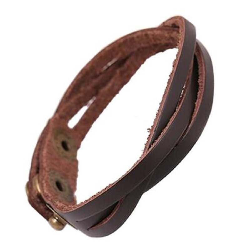 2 Color Punk Rock Style Cool Simple Braided Unisex Leather Hand Wrap Bracelets Wristband Cuff Bangles Soft Cowhide Fine Jewelry