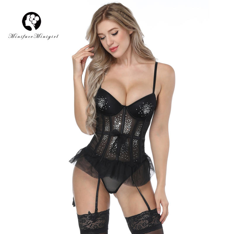 Minifaceminigirl 2018 New Black Red Overbust Women Gothic   Corset   Sexy Femme Lace Up Lingerie   Corset     Bustier