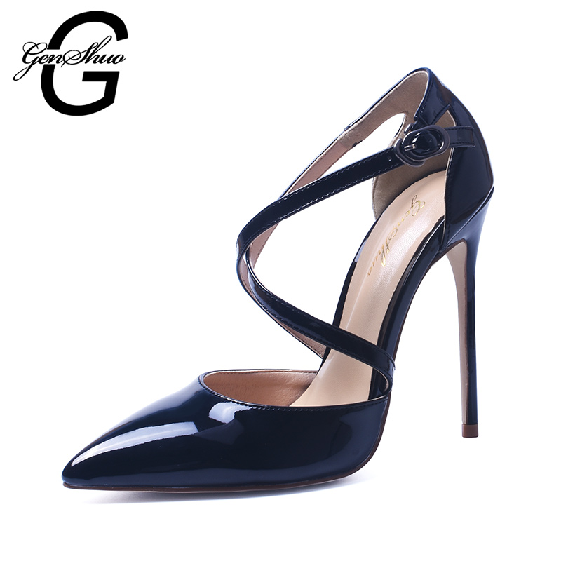 GENSHUO Shoes Woman High Heel Pumps Sexy Black High Heels Pointed Toe Women Shoes Brand Patent Leather Cross Strapy Wedding Shoe brand womens shoes high heels women pumps 12cm heels blue shoes woman pumps sexy pointed toe high heels wedding shoes b 0056