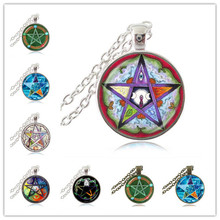 Five Elements Pentagram Necklace Pentacle Pagan Triple Moon Goddess Pendant Five Pointed Star Astrology Jewelry Witch Jewellery