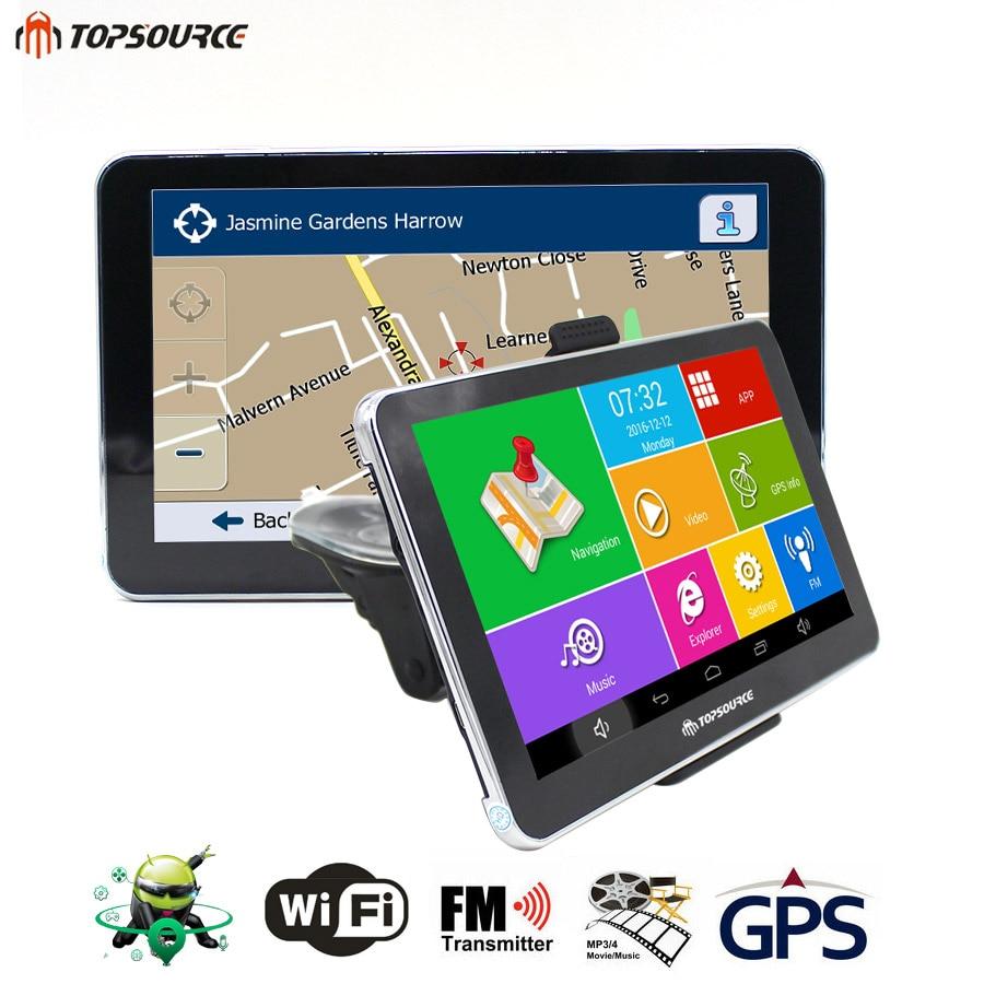 Topsource автомобиля GPS грузовик навигация Android 4.4 Bluetooth Автомобильный навигатор Навител/Европа/США/Россия/Великобритания 2016 бесплатная карта