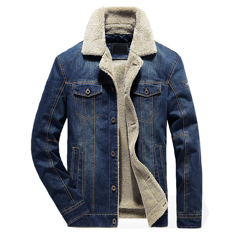 TACVASEN Denim Jackets Men Autumn Fashion Casual Jean Jacket and Coat Windproof Warm Cotton Jacket Windbreaker Clothes MGND-06